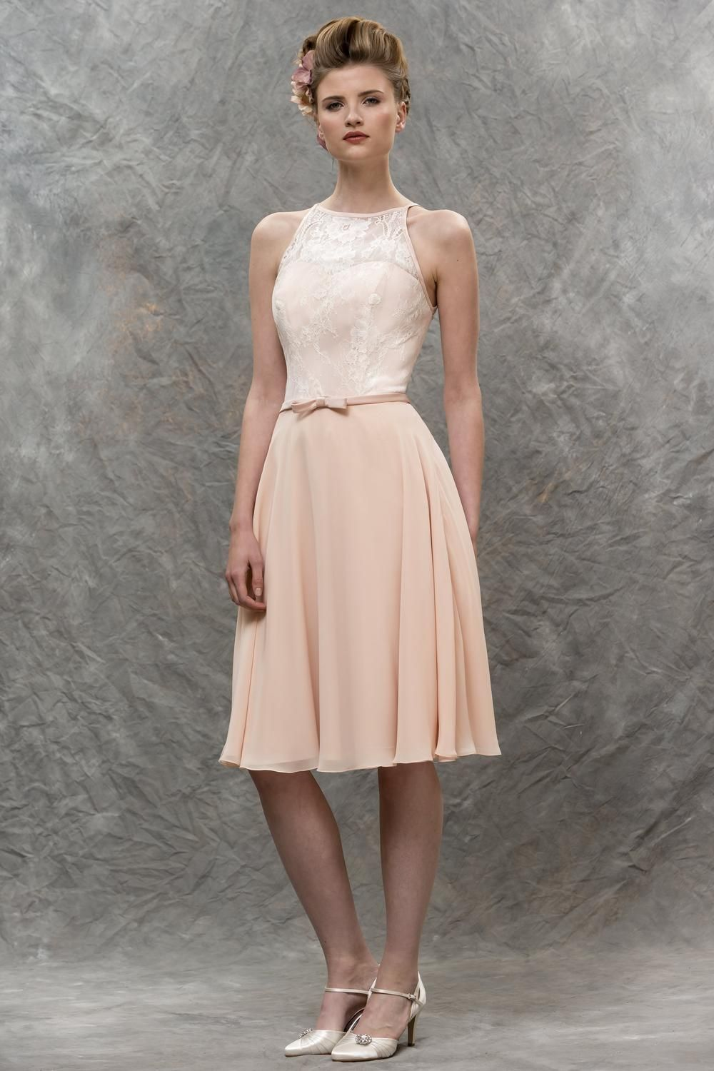 Online get cheap pink made honor dress aliexpress alibaba group pearl pink chiffon lace custom made halter knee length a line sleeves bridesmaid dresses maid of ombrellifo Images