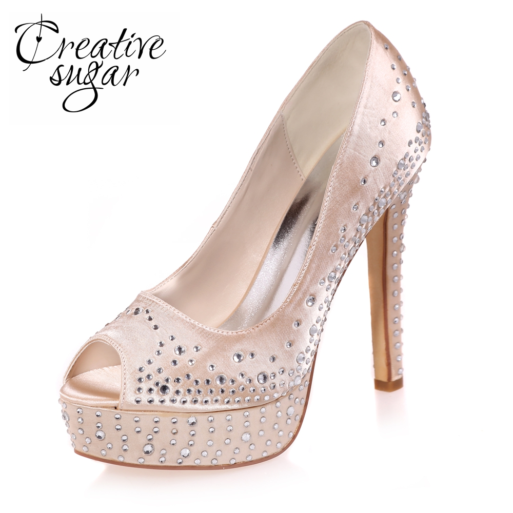 Creativesugar lady open toe platform high heels rhinestone diamond satin dress shoes wedding party evening pumps champagne blue