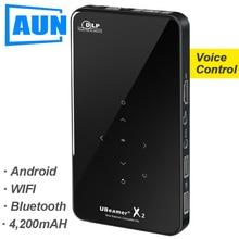 Аун мини-проектор X2, WI-FI Android Touch Управление (опционально голос Управление, Оперативная память: 2G Встроенная память: 16G) Поддержка 1080 P, Портативный 3D дома Кино