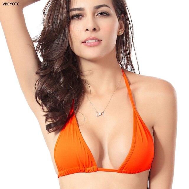 113b74e1a6c US $5.99 40% OFF VBCYOTC Bikini Halter Top womens swimming bikini top  Brazilian sexy women's swimsuit solid color top Without chest pad swimwear  -in ...