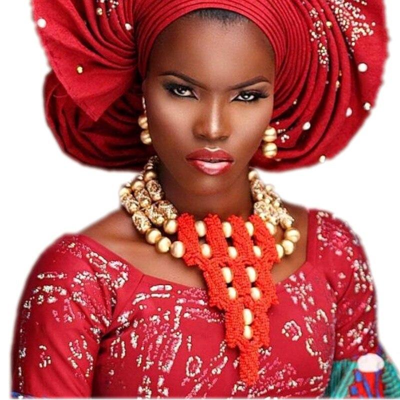 Dudo bijoux perles nigérianes africaines Dubai ensembles de bijoux de mariage pour les femmes rouge or boules audacieuses collier de mariée bijoux ensemble 2018