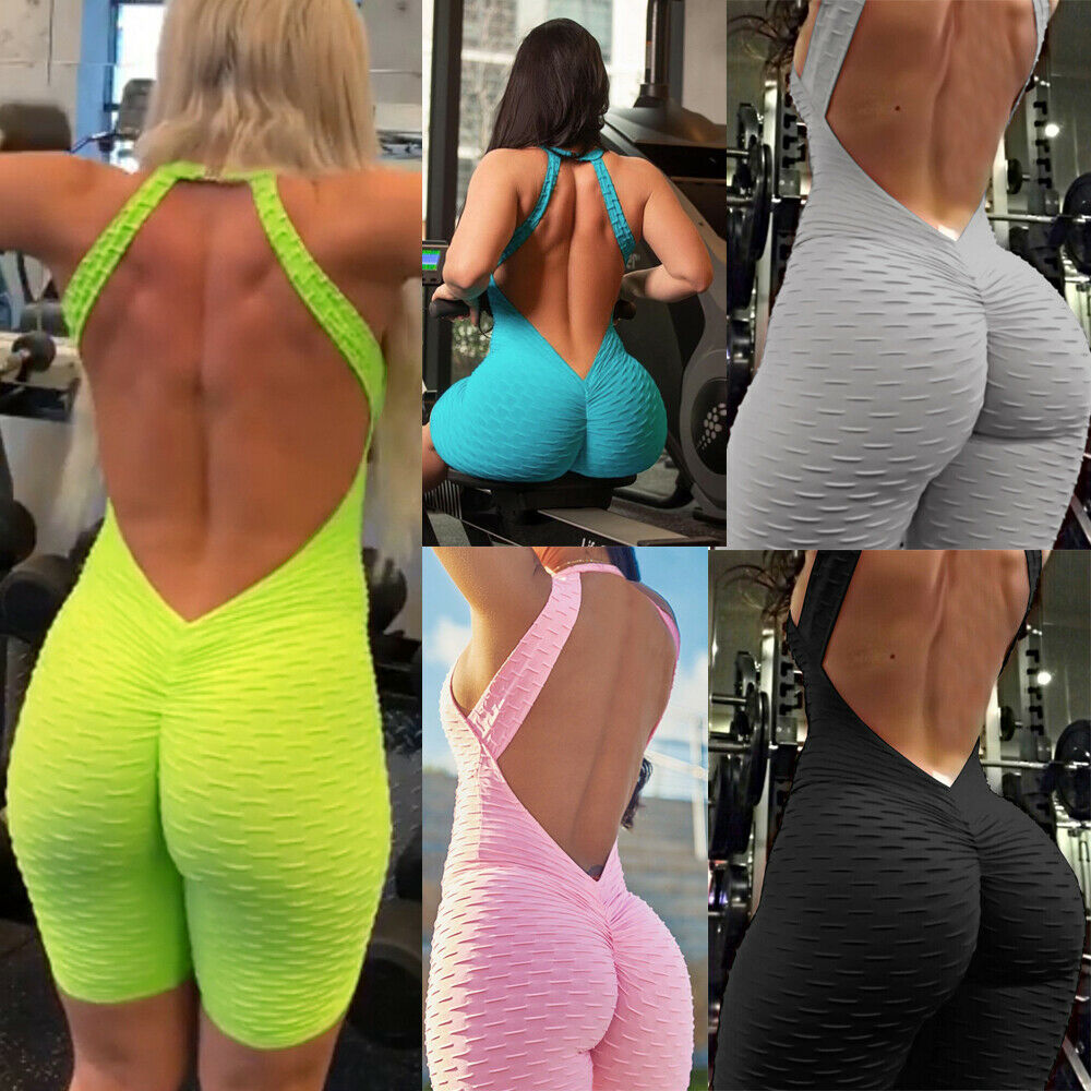 Women Backless Sports Gym Yoga Running Fitness Leggings Shorts Jumpsuit Suit