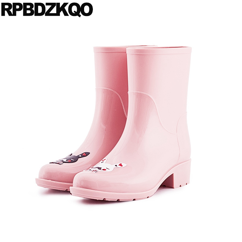 Flat Pink Slip On 2017 Shoes Cartoon Short Cheap Candy Rain Boots Ankle Autumn Round Toe Ladies Chinese Female New Fashion front lace up casual ankle boots autumn vintage brown new booties flat genuine leather suede shoes round toe fall female fashion
