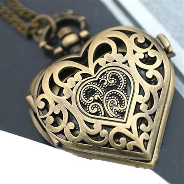 Women Hollow Heart-Shaped Pocket Watch Necklace Pendant Chain Gift Women Fob Wat