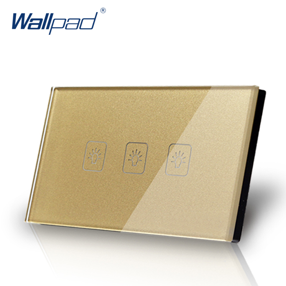 3 Gang 1 Way US/AU Standard Wallpad Touch Switch Touch Screen Light Switch Gold Crystal Glass Panel Free Shipping free shipping us au standard touch switch 1 gang 2 way control crystal glass panel wall light switch kt001dus