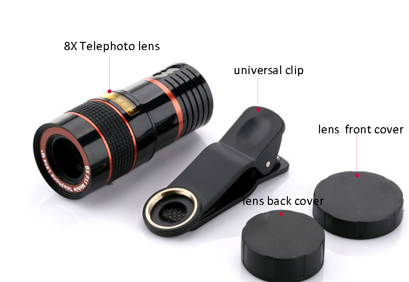 High-Definition Universal 8x telephoto telescopic camera lens For iPhone 6 6s Plus 5S SE 7 7Plus/Samsung Galaxy S6 S7 Edge Plus 8