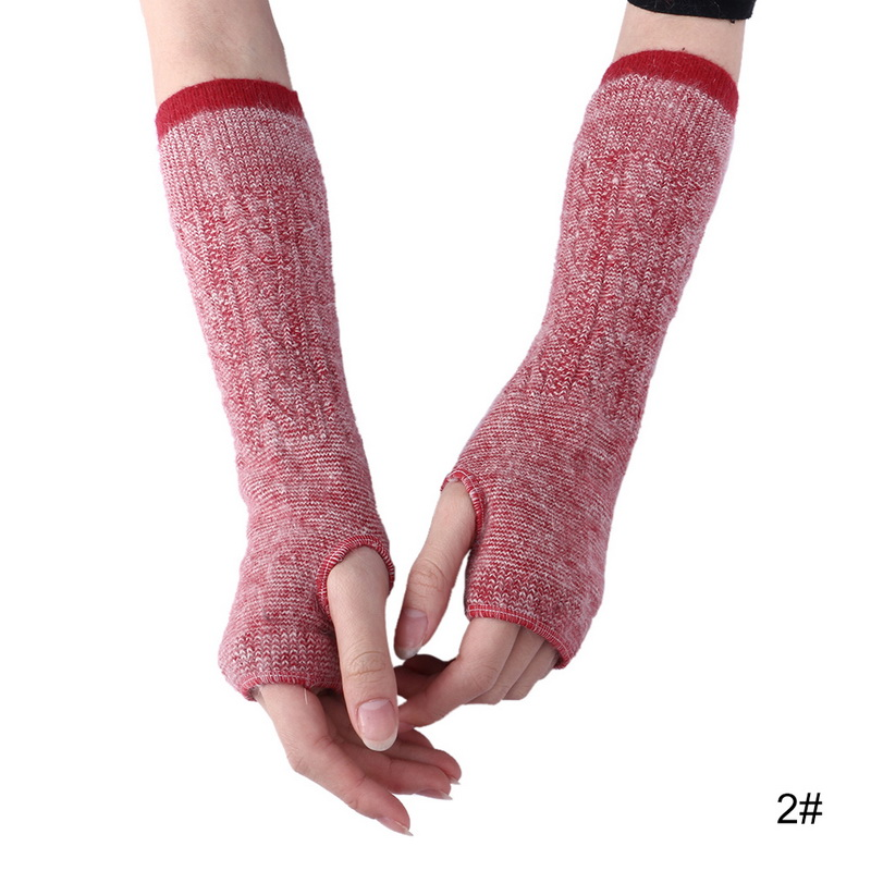 CALOFE Women Exposed Gloves Long Half Finger Knitted Warm Winter Autumn Outdoor Sport Running Skiing Gloves Support Accessories