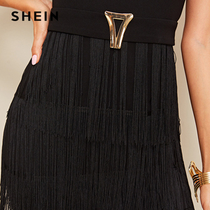 Image 5 - שיין אלגנטי מתכת כפתור פירוט שכבות פרינג שחור עיפרון שמלת נשים גבוהה מותן מוצק קצר שרוול קיץ Slim ארוך שמלות