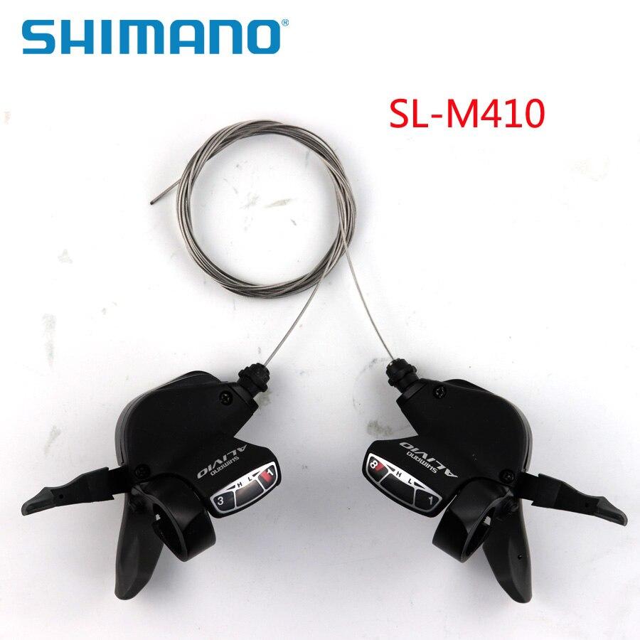 SHIMANO ALIVIO SL M410 3X24 8 S S Velocidade Shifter Lever Gatilho Left & Right Par com mudar Cabo interno MTB Peças Da Bicicleta