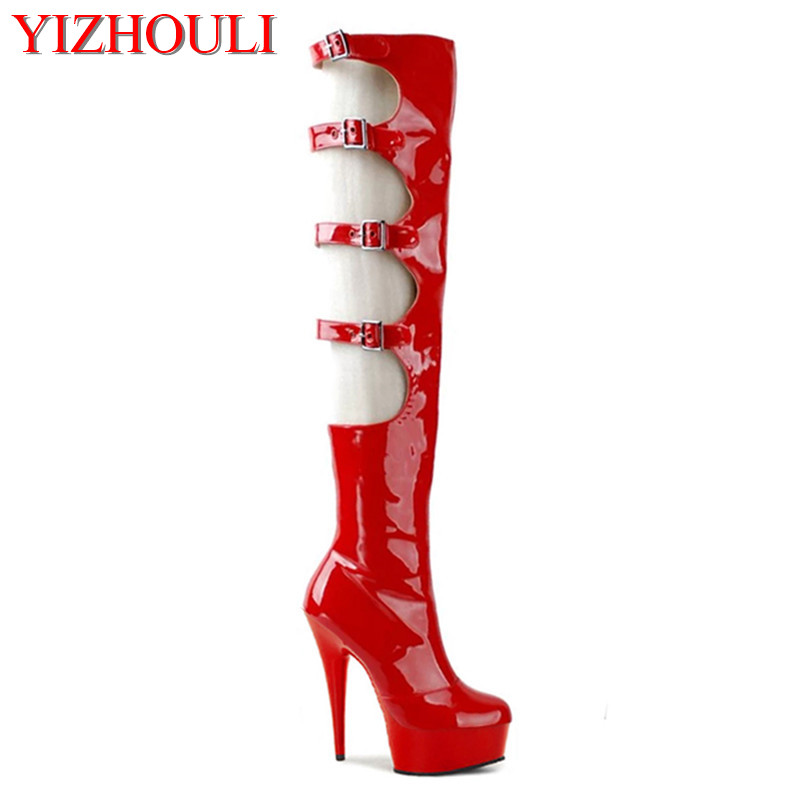 Sexy club, 15-centimeter-thick, high-heeled, high-heeled shoes, and a female motorcycle boot with a button-down on the knee high on a hill
