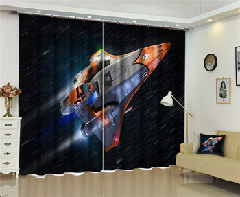 Modern Fashion Luxury outer space 3D Blackout Window Curtain For Bed room Living room Hotel Window Drapes Cortinas Para Sala