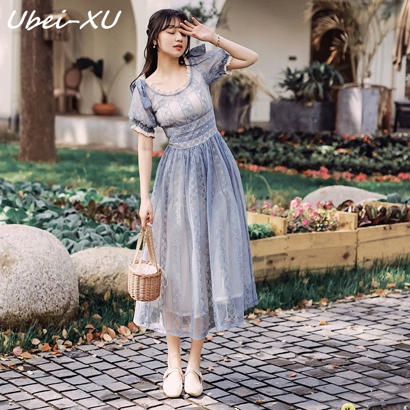 Kadın Giyim'ten Elbiseler'de Ubei Tek tek omuzlu elbise moda yaz 2019 peri uzun elbise es yüksek bel vintage dantel uzun elbise kadın'da  Grup 1