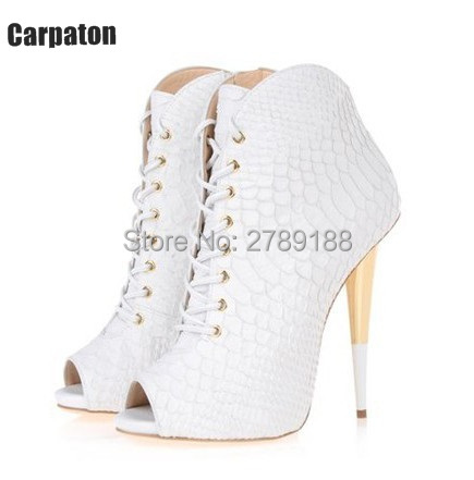 Black White Crocodile leather Lace Up Open Toe Women Boots Summer Autumn Ankle Boots Gold High Heels Pumps Snake Shoes Woman
