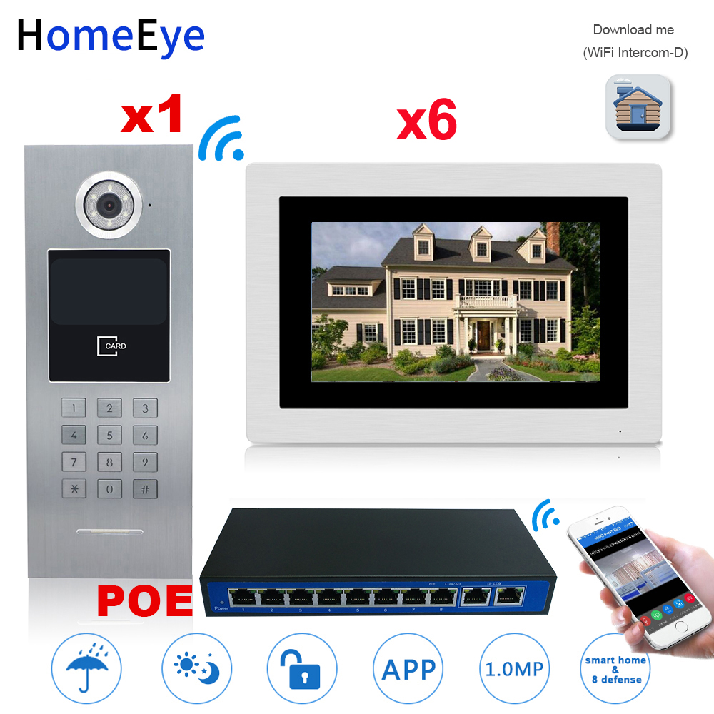 7'' 720P WiFi IP Video Door Phone Video Door Bell 6 Floors Home Access Control System Password/RFID Card +POE Switch IOS Android