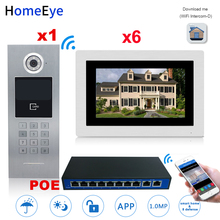 цена на 7'' 720P WiFi IP Video Door Phone Video Door Bell 6 Floors Home Access Control System Password/RFID Card +POE Switch iOS Android