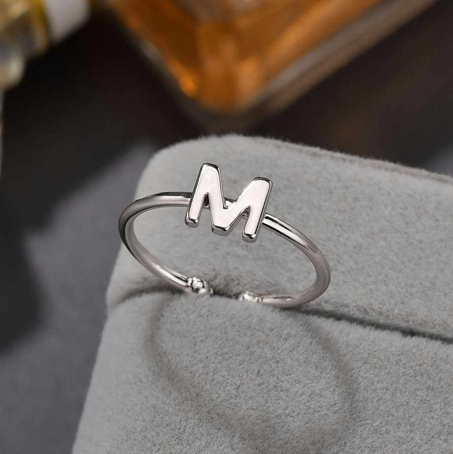 Romantic A-Z 26 Letter Rings For Women Lady Creative Ring Women Silver Wedding Rings Christmas Lovers' Gifts