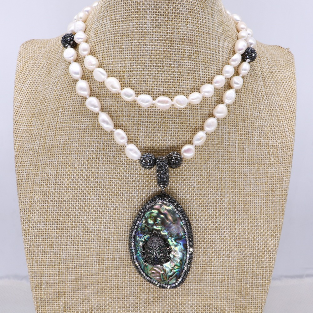 Wholesale Natural pearls necklace pendant necklace Abalone pendant with zircon bugs jewelry necklace jewelry gift for lady 4130