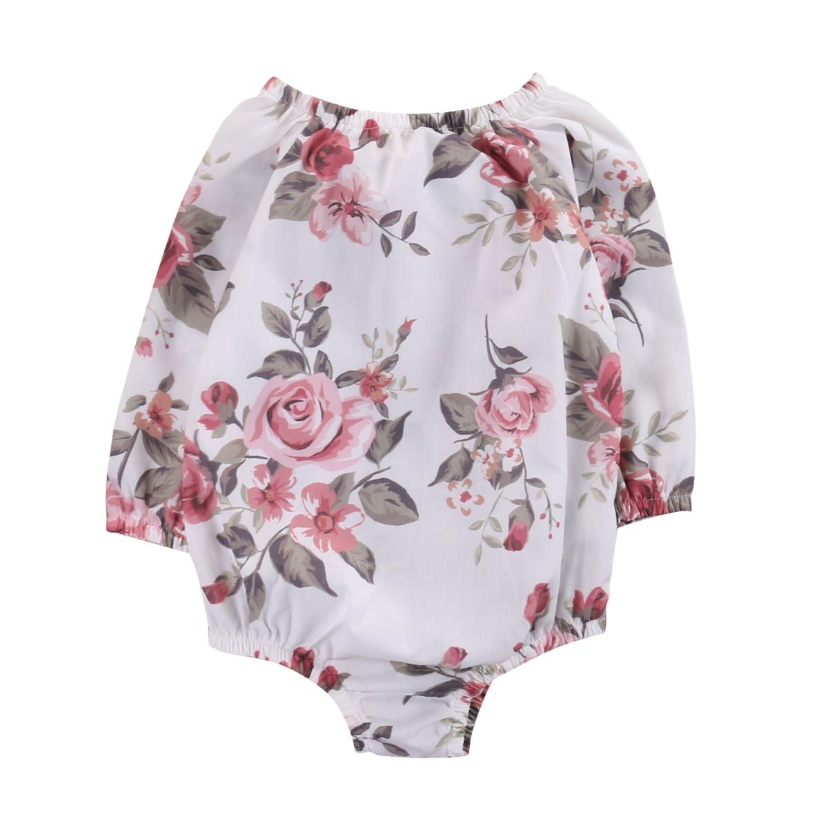 2017 Floral Long Sleeve Infant Baby Girl Romper Jumpsuit Cotton Outfit Sunsuit