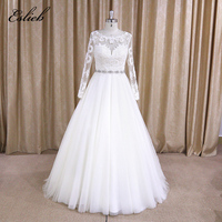 High Quality New Fashion Lace A Line White and Ivory Wedding Dresses Long Sleeves Pearls Beads Sashes Bridal Gown Custom Size