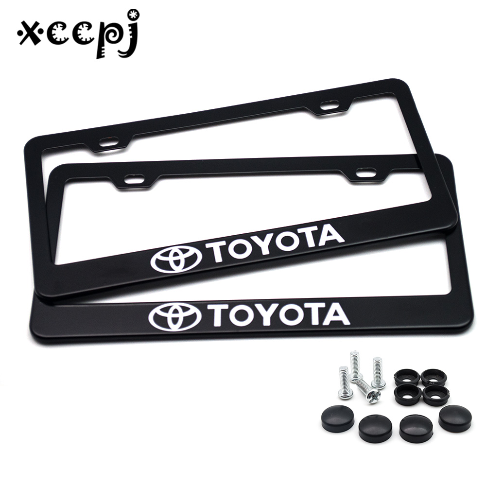 2 Pcs Stainless Steel  Universal Holes Black Car License Plate Frame Number Plate Holder With 4 Chrome Screw Caps For TOYOTA
