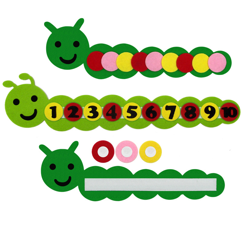Funny Number Caterpillar Kids Color And Math Toy For Children Kindergarten Teaching Toy DIY Weave Cloth Educational Toys
