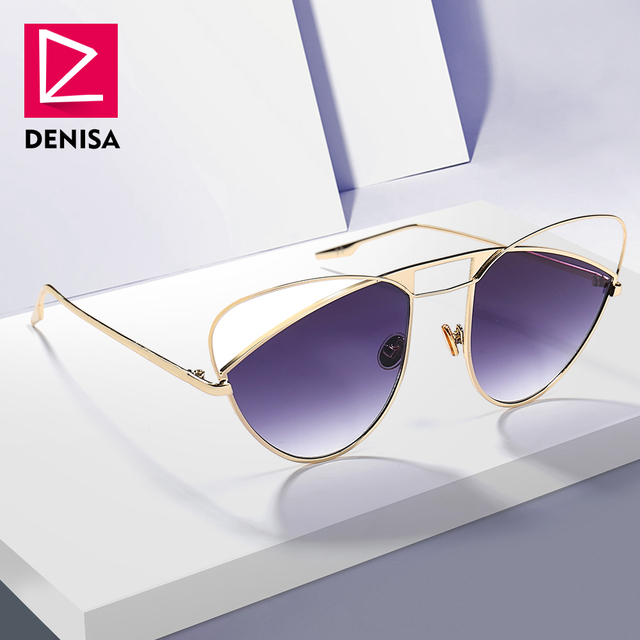 DENISA 2018 бабочка каркас кошачий глаз солнцезащитные очки Новинки для женщин модные Розовый и красный цвет ретро солнцезащитные очки девушки UV400 zonnebril dames G18632
