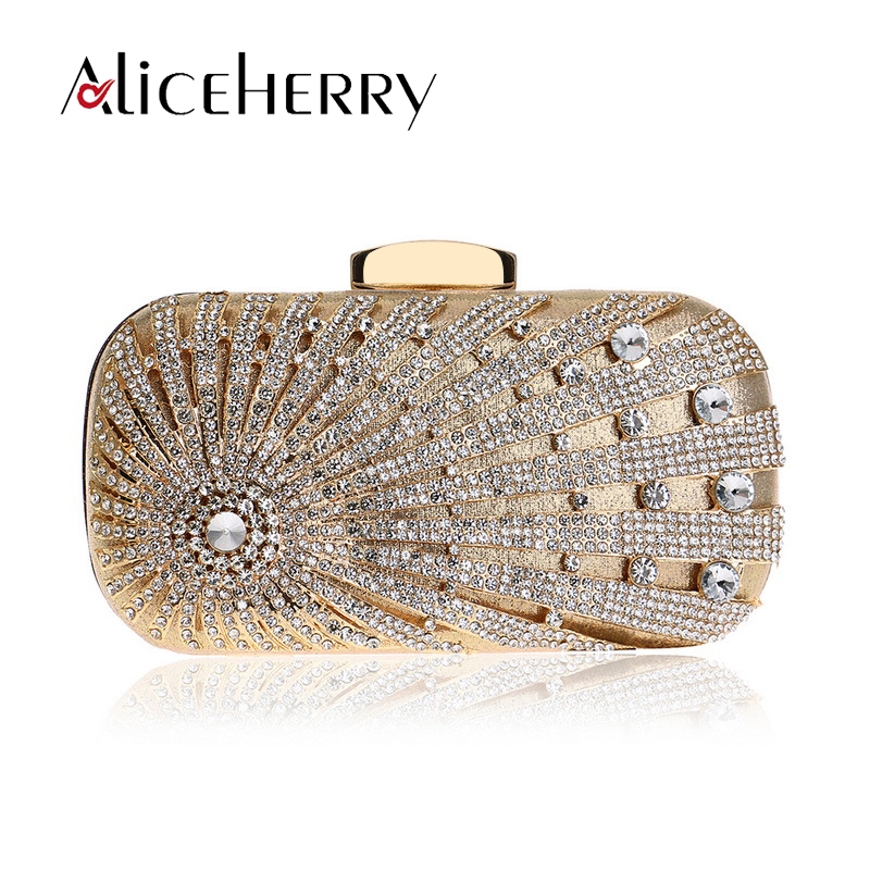 Luxury Handbags Women Bags Designer Diamond Evening Bag Gold Silver Banquet Party Box Purse Bridal Day Clutches Bag Real Price