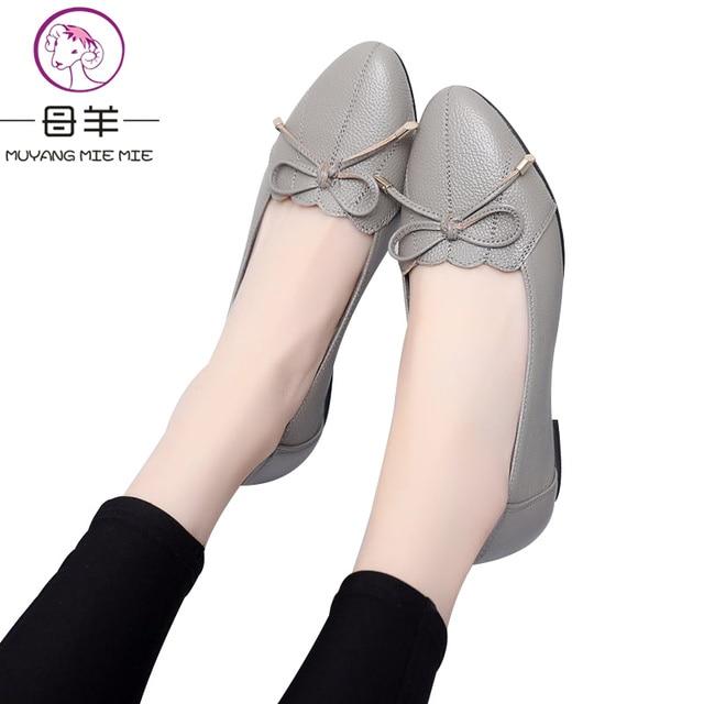 MUYANG בתוספת גודל 5.5-9.5 אמיתי עור נשים נעלי אישה דירות אופנה נקבה מקרית עבודה בלט דירות גבירותיי נעליים