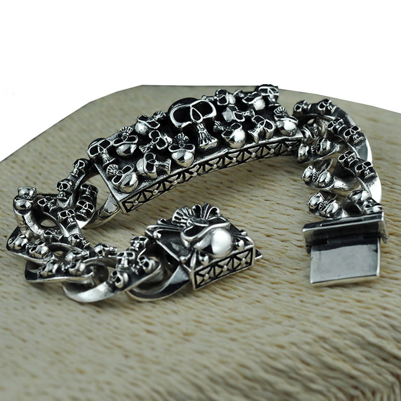 925 Sterling Argent Bracelet Déclaration Grande Chaîne De Noël Cadeaux Vintage Punk S925 Solide Thai Argent Bracelet Hommes Bijoux