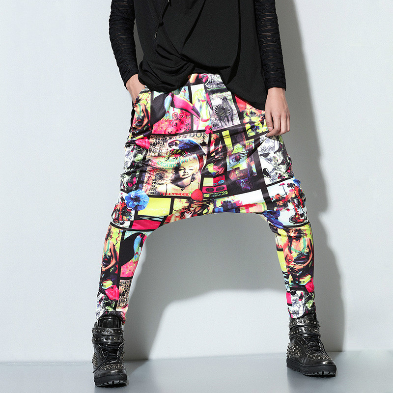 Harem-Pants Street-Wear Casual-Trousers Elastic-Waist Loose Printed Male Fashion Hip-Hop