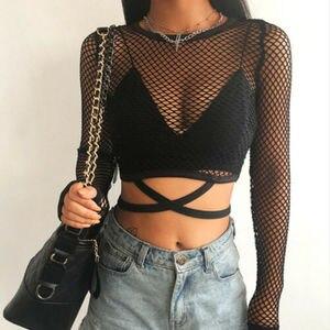 Sexy New Mesh Goth Long Sleeve T shirt Women See-through Fishnet Tops Summer Casual TShirt Streetwear Women's Clothing 2019