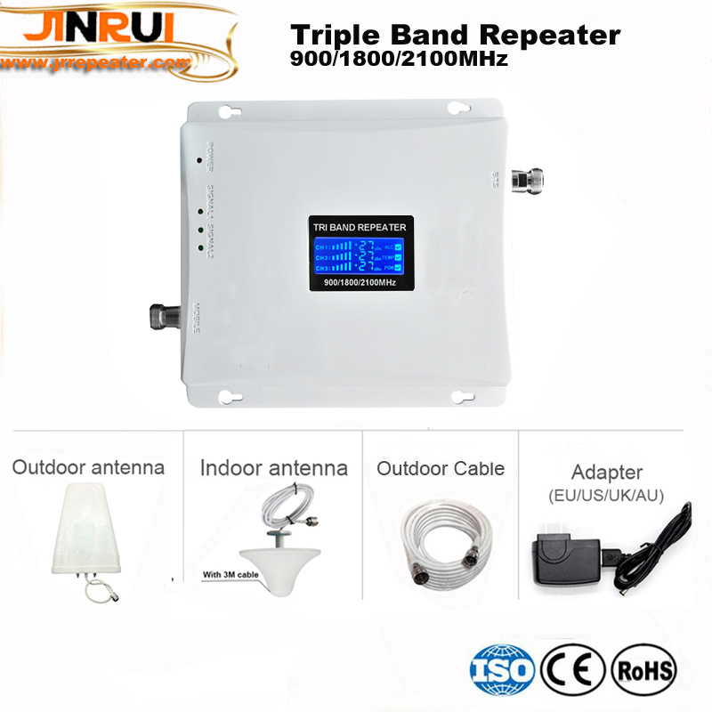 LCD display2G 3G 4G GSM repeater 900 WCDMA 2100 LTE 1800 Tri Band cellular Signal Booster