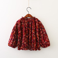 Everweekend Girls Floral Print Ruffles Tees Cute Baby Lantern Sleeve Clothes Lovely Kids Autumn Cotton Tops