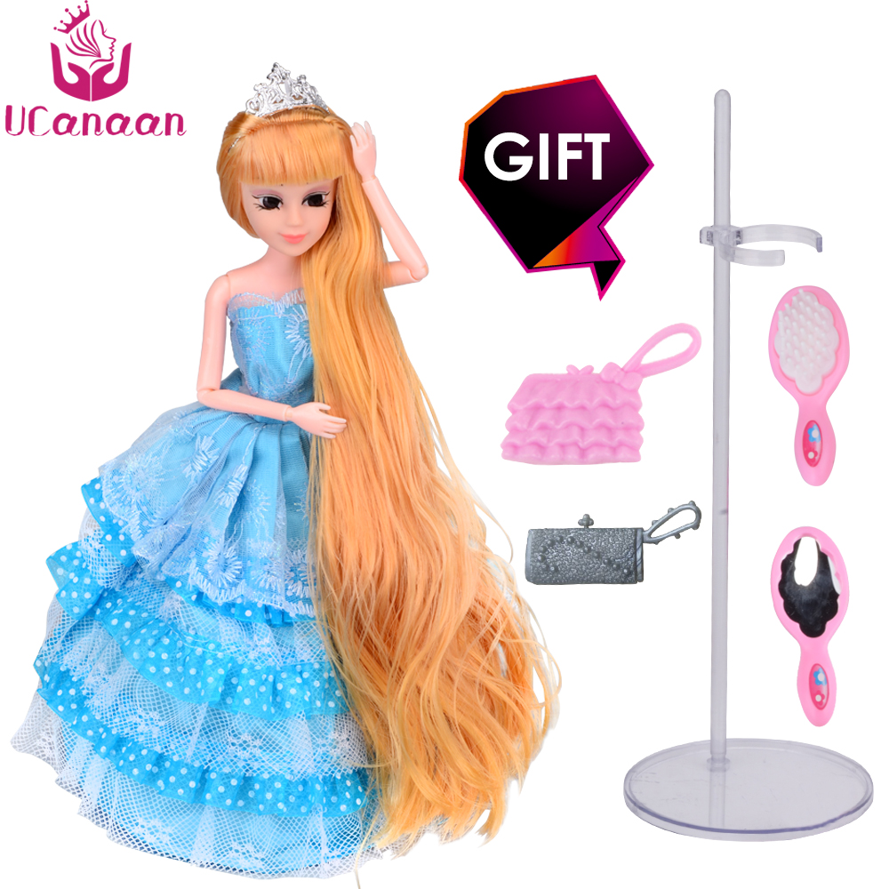 2017 New UCanaan Princess Dolls Blue Wedding Party Dress Long Thick Hair reborn babies Christmas New Year Gift for Little Girl
