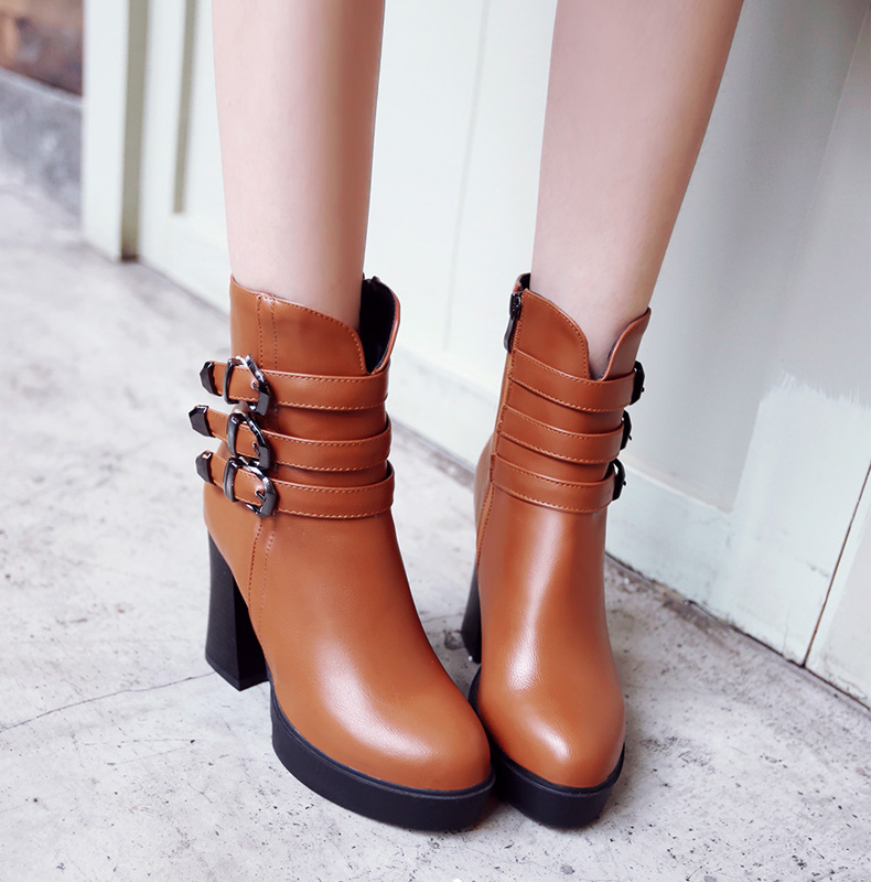 ФОТО las mujeres de arranque ocasional plus size 34 to 53 women high quality buckle strap brown boots lady casual pu leather shoes