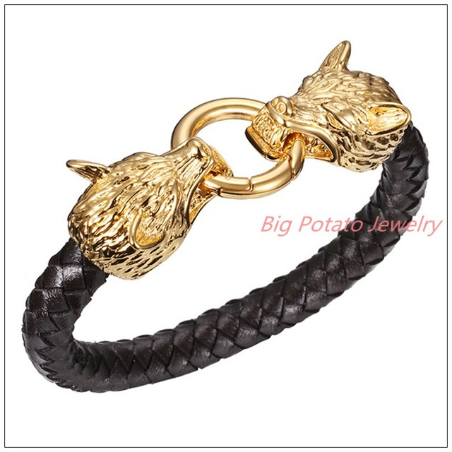 86695mm 56g Punk Jewelry 316L Stainless Steel Gold Wolf Clasp