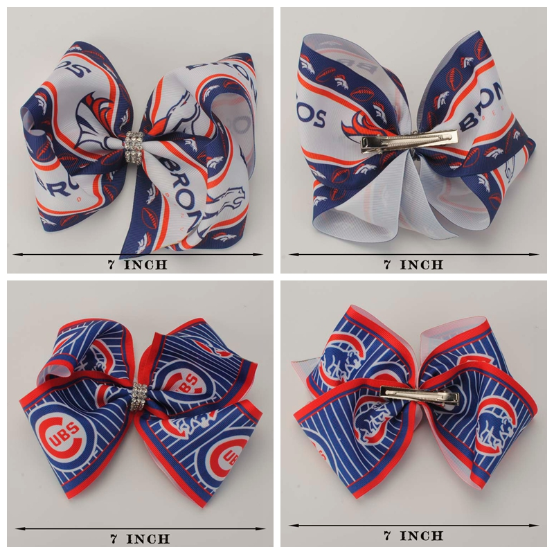 5pcs/lot 7  Sport team Hair Bow With alligator Clip For Girls Diamond Knot Hair Clips Acceessories For Girl