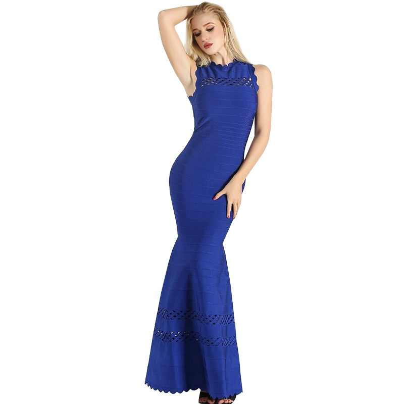 Elegant Evening Party Dress Women Sleeveless Hollow Out Bandage Dress Maxi Floor Length Slim Ruffle Mermaid Long Dresses Blue