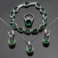 Green Created Emerald  Silver Color Jewelry Sets Bracelets Earrings Necklace Pendant  Rings For Women Free Gift Box
