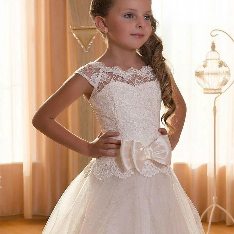 Baby Girl Lace Ball Gown Show Birthday Princess Dresses Flower Kids Girls Tutu Dress Wedding Bridesmaid Clothing Dress GDR408 kids girls flower dress baby girl butterfly birthday party dresses children fancy princess ball gown wedding clothes