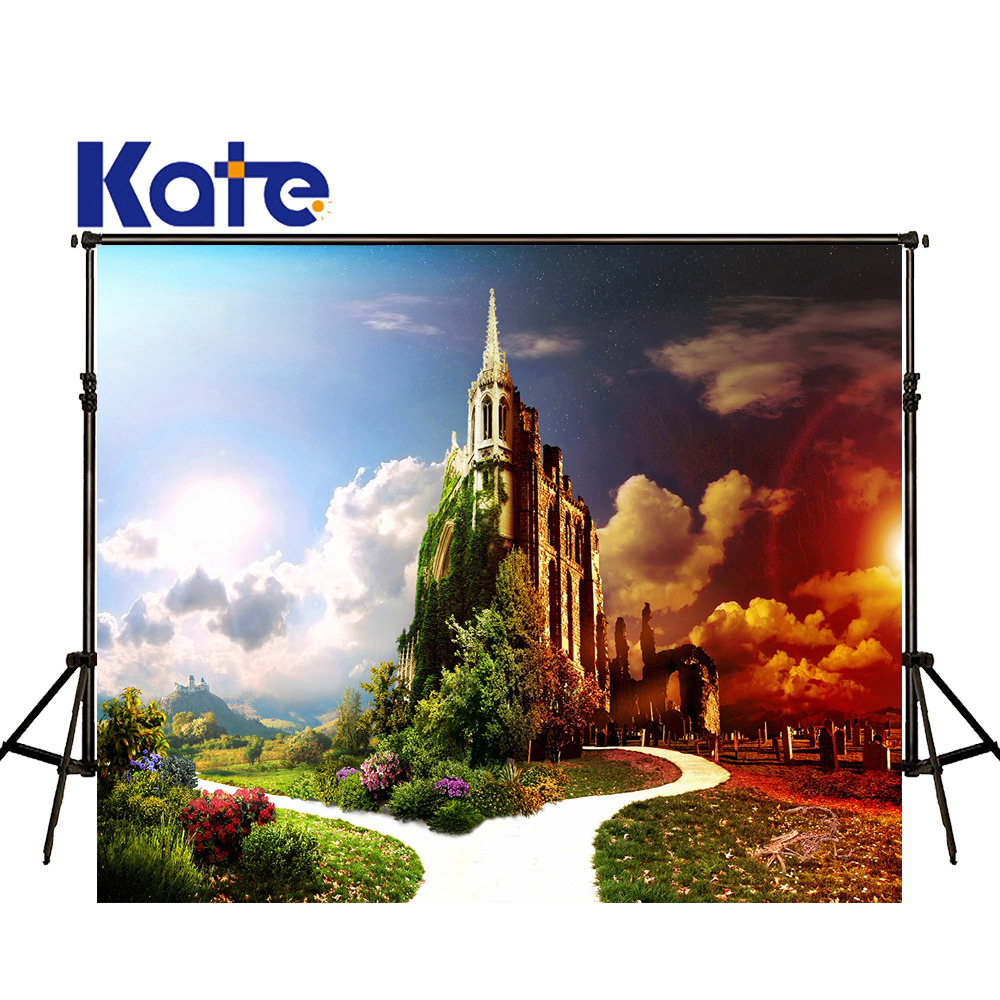 KATE Photography Backdrop Fairy Castle Photo Background Scenic Backdrops Fotobehang Clouds Naturism Children Photos for Studio