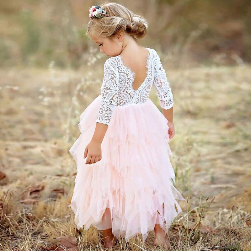 Lace Princess Girl Dress Tutu Baby Girl Christmas Party Wear Little Girls Dresses Children Costume for Kids Clothes Pink 2-6 Yrs 1