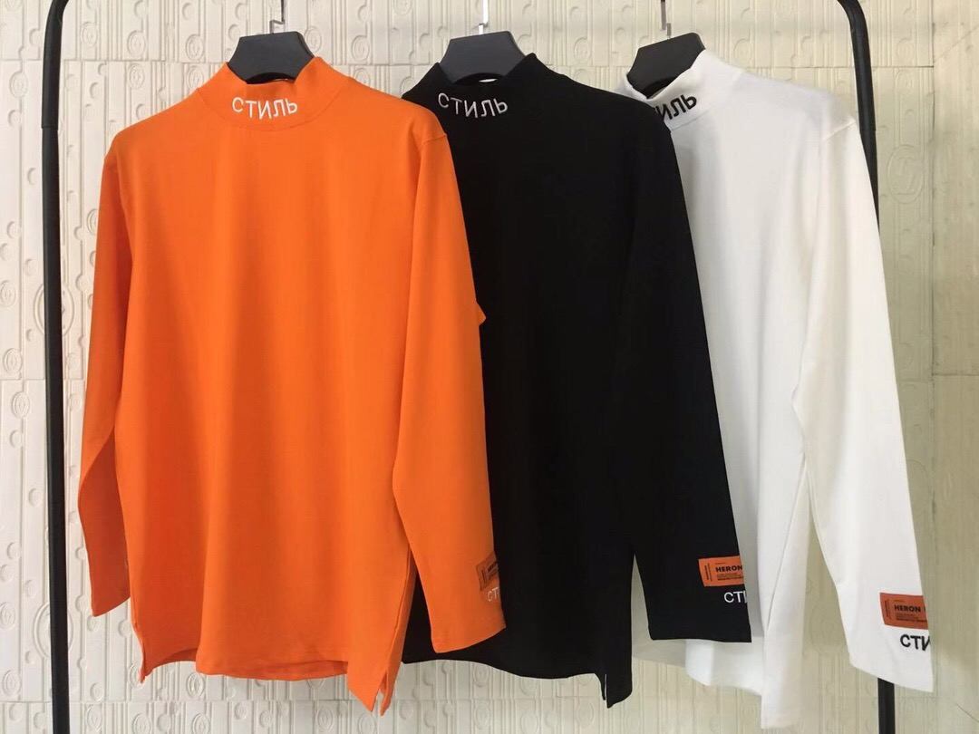 2018 HERON PRESTON Embroidery Women Men Turtleneck Long Sleeve   T     shirts   tees Hiphop Streetwear Men Cotton   T     shirt   HP Brand