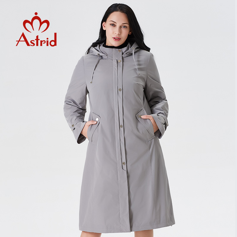 Astrid 2019 women trench coat big size spring fashion long windbreaker solid color Windproof temperament women