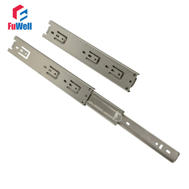 2pcs Stainless Steel 10inch Drawer Slide Fold Telescopic 45mm Width Drawer  Runner Sliding Rail for Cabinet Desk-in Slides from Home Improvement on