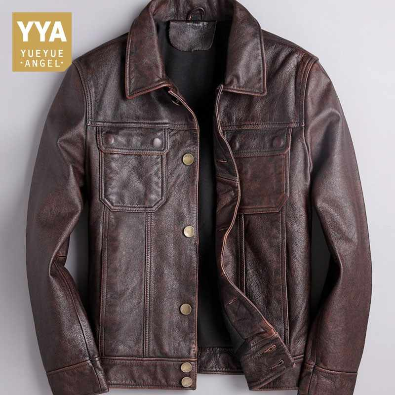 Italy Designer Motorcycle Mens Cowhide Genuine Leather Jacket Vintage Biker Slim Fit Coat Chaqueta Cuero Leather Outwear Coat Aliexpress