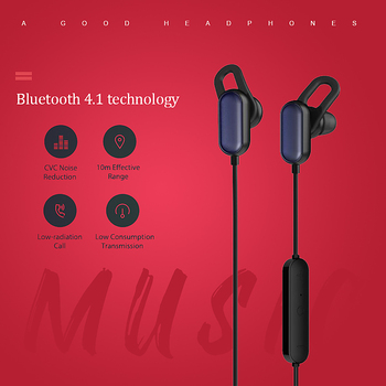 Xiaomi  IPX4 Waterproof  Headset In-ear Sports Earphone Wireless Bluetooth V4.1 Earbuds with Line Control Mic Youth Edition
