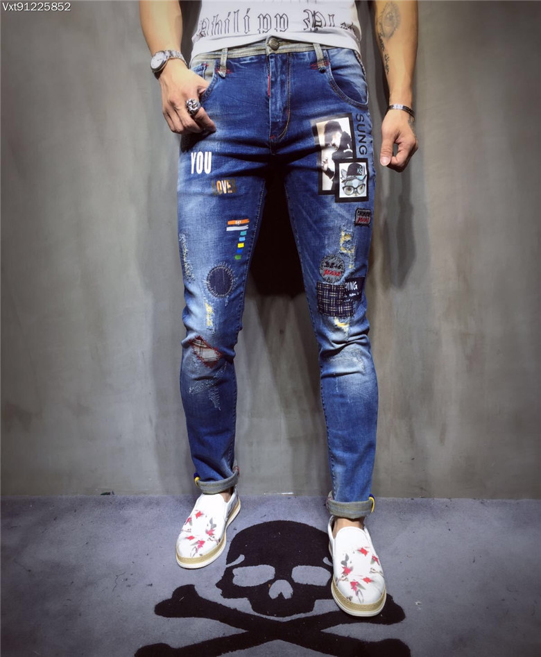 New  men's brand jeans worn holes must be washed blue trousers 2017 Fashion