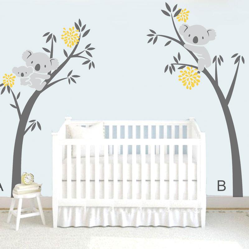 Us 22 4 30 Off Diy Modern Koala Tree Branches Wall Decal Baby Nursery Decor Vinyl Mural Sticker For Kids Room Bedroom Art Carved In
