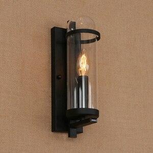Image 3 - Outdoor waterdichte retro cilindrische glazen wandlamp industriële restaurant bar studie smeedijzeren wandlamp